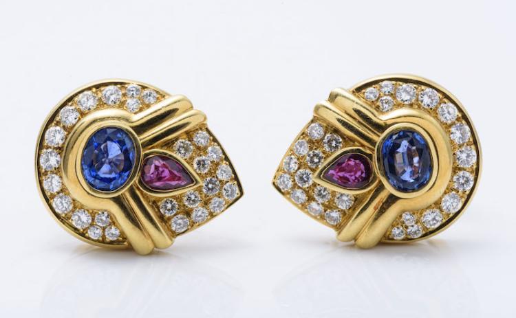 18K YG Sapphire, Ruby and Diamond Ear Clips.