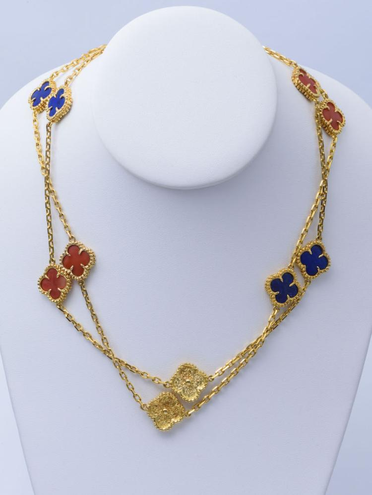 18K YG Coral and Lapis Long Necklace. Manor Of VCA.
