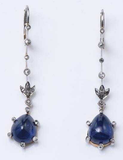 Antique Edwardian Plat & Gold Cabochon Sapphire Earring
