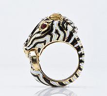 David Webb Plat. Enamel, Diamond and Ruby Zebra Ring