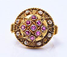 18K YG Diamond, and Ruby Ring