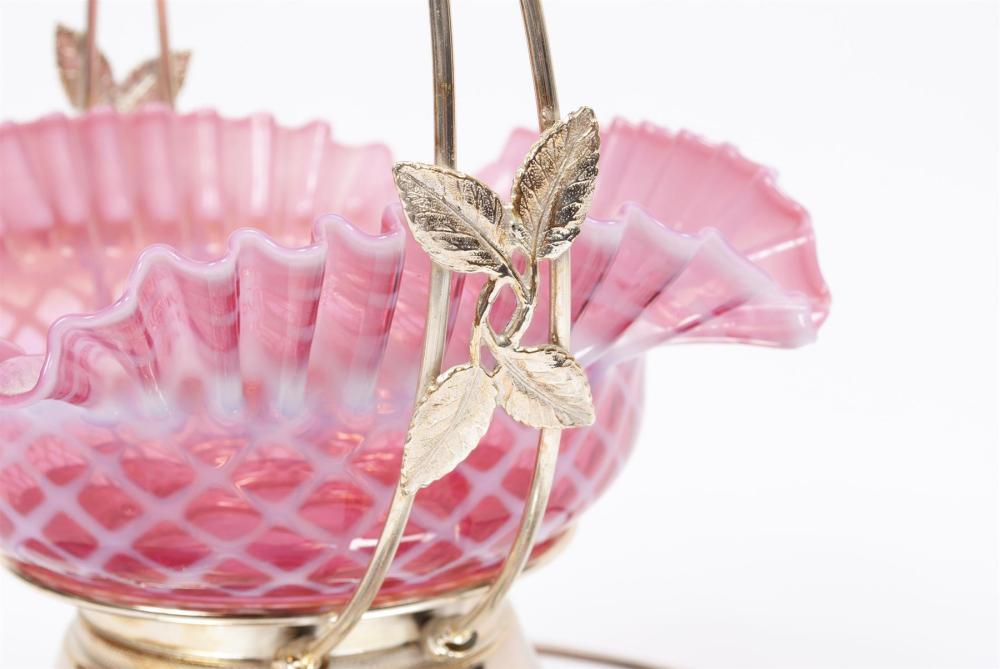 PINK VICTORIAN ART GLASS WEDDING BASKET