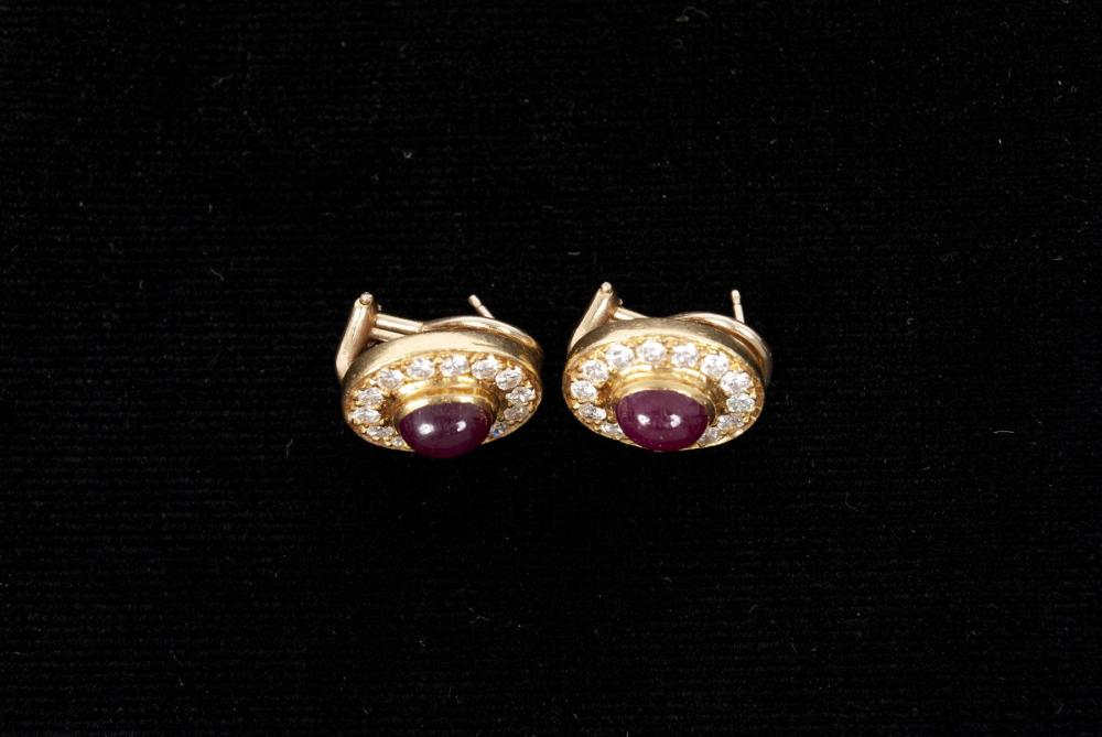 PAIR OF 18K RUBY CABOCHON AND DIAMOND EARRINGS
