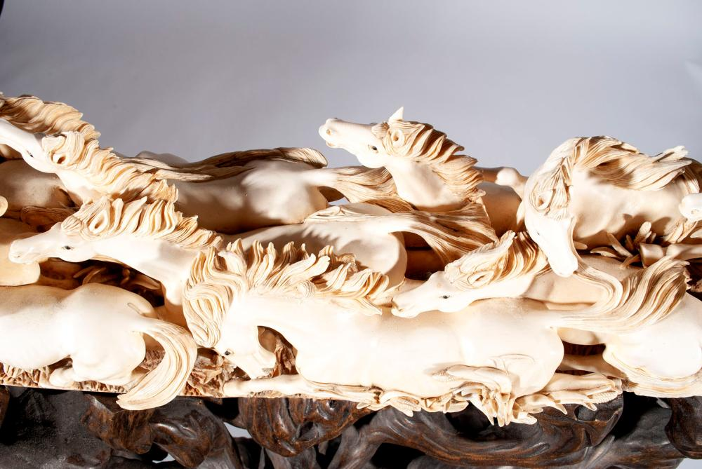 38 HORSE CARVED PETRIFIED MAMMOTH TUSK