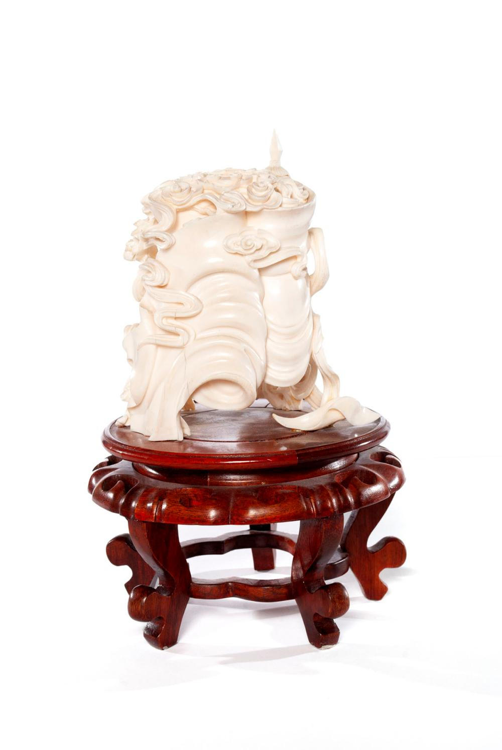 LARGE CHINESE PIERCED IVORY PUZZLE BALL AND STAND