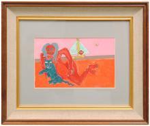 FIGURE ON A BEACH BY LENNIE KESL (AMERICAN, 1926-2012).