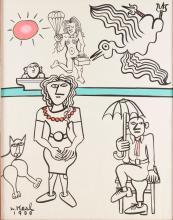 FIGURAL SCENE BY LENNIE KESL (AMERICAN, 1926-2012).