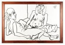 FIGURAL SCENE BY LENNIE KESL (AMERICAN, 1926-2012)