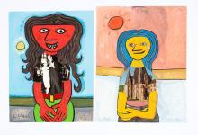TWO PORTRAITS BY LENNIE KESL (AMERICAN, 1926-2012)