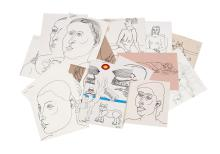 COLLECTION OF BLACK LINE DRAWINGS BY LENNIE KESL (AMERICAN, 1926-2012)