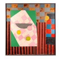 GEOMETRIC ABSTRACT STILL LIFE BY LENNIE KESL (AMERICAN, 1926-2012)