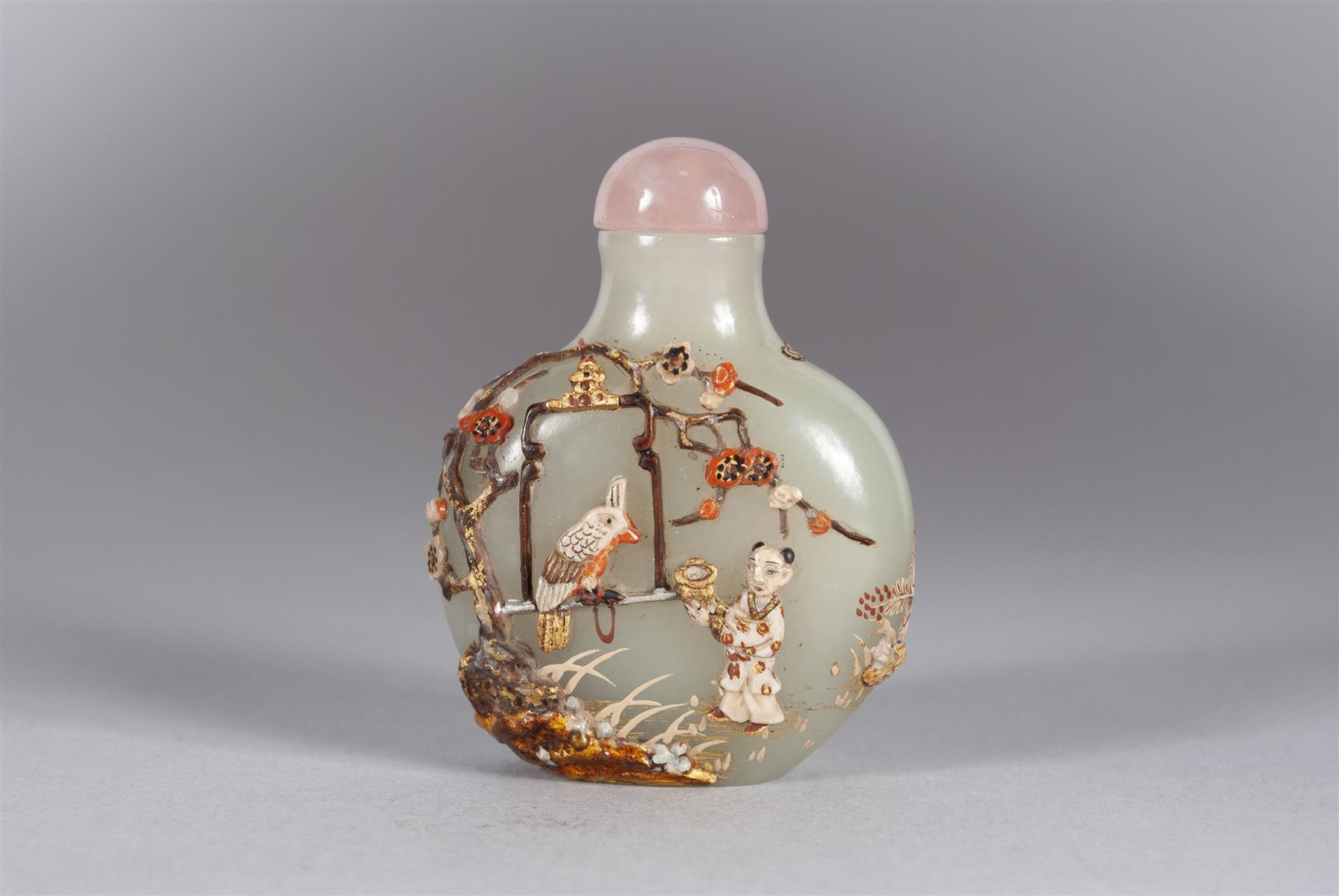 A RARE JAPANESE EMBELLISHED CHINESE JADE SNUFF BOTTLE
