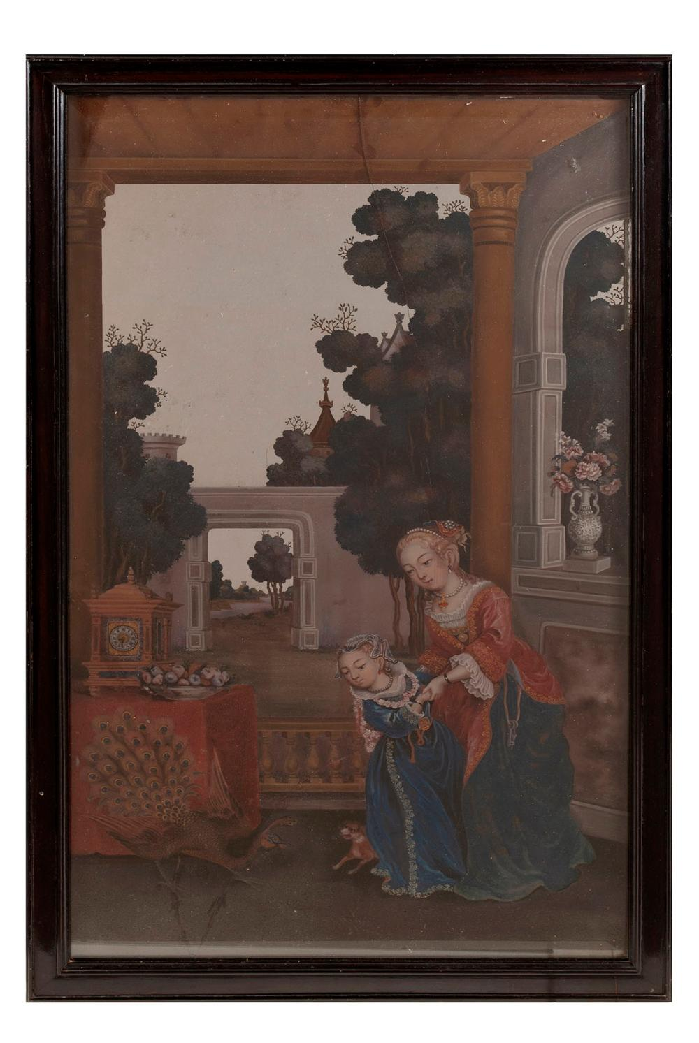 A QING ERA CHINESE EXPORT REVERSE MIRROR PAINTING