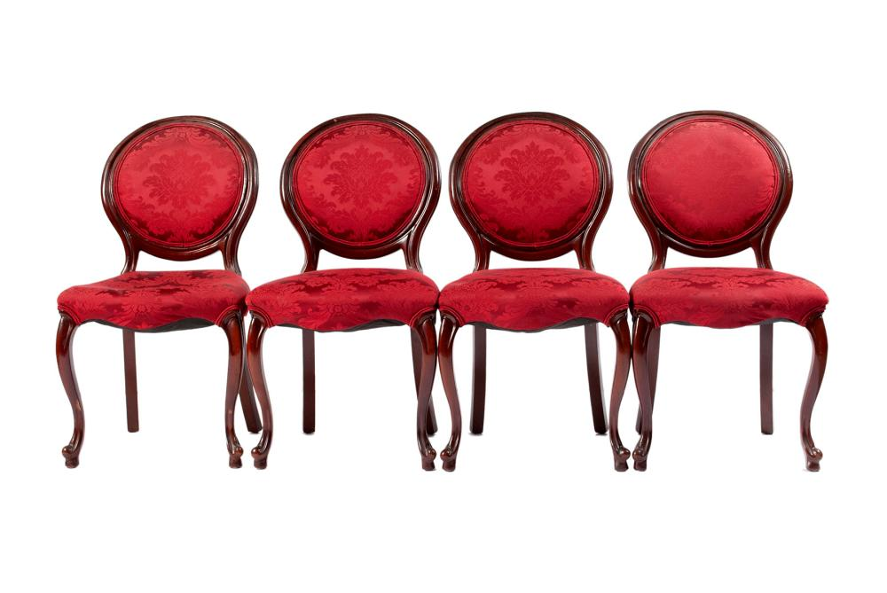 SET OF FOUR BALLOON BACK PARLOR CHAIRS