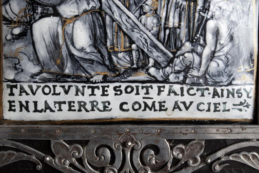 FRENCH ENAMEL PLAQUE OF CHRIST ON ROAD TO CALVARY