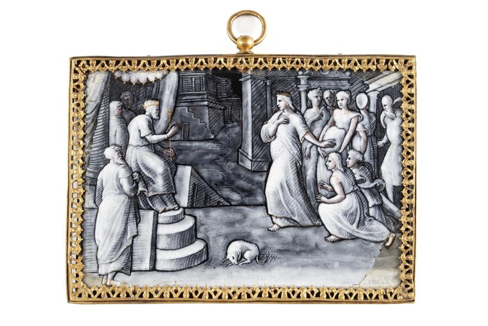 FRENCH ENAMEL PLAQUE OF KING SOLOMON