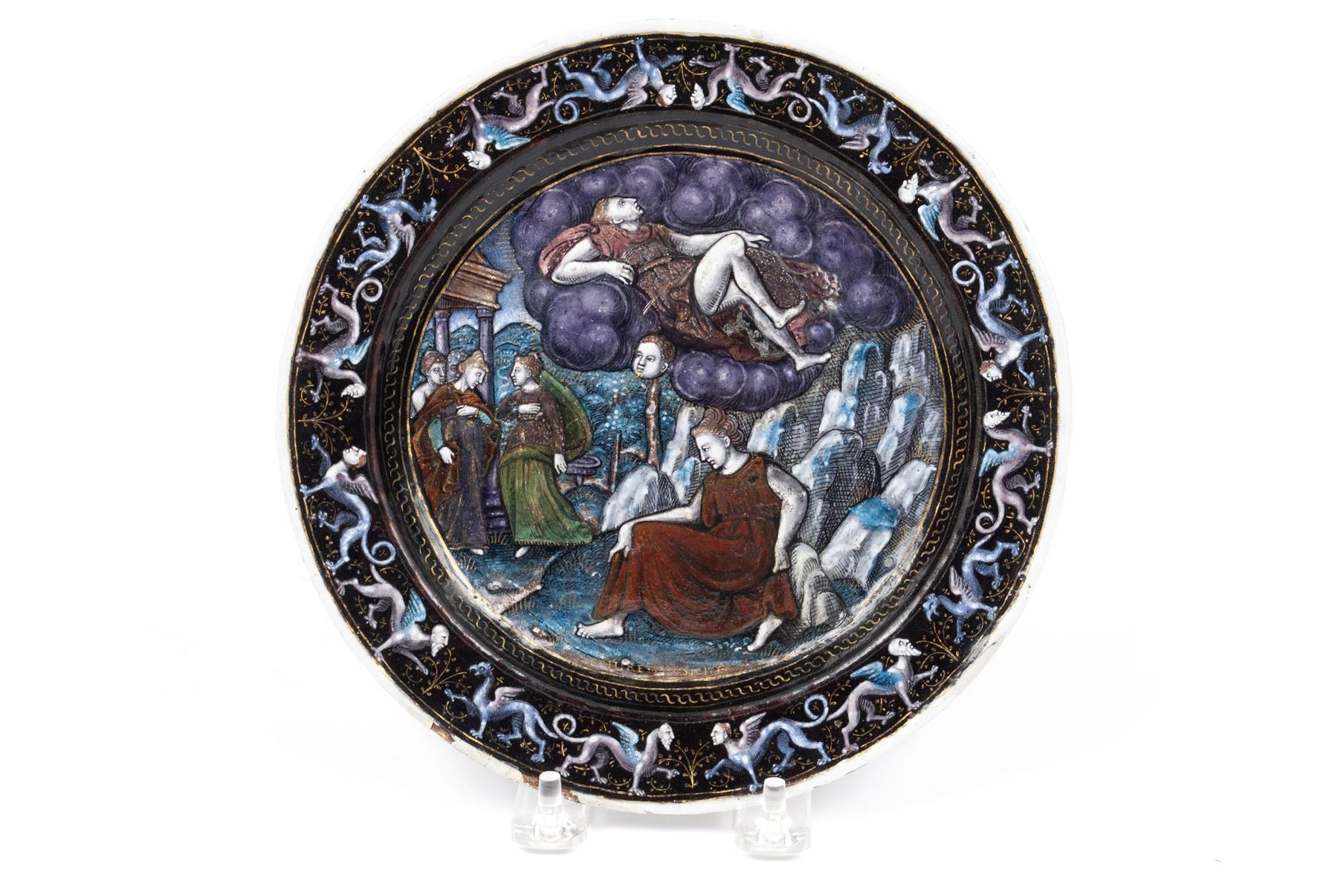 FRENCH POLYCHROME ENAMEL PLATE OF PSYCHE AND ZEPHYRE