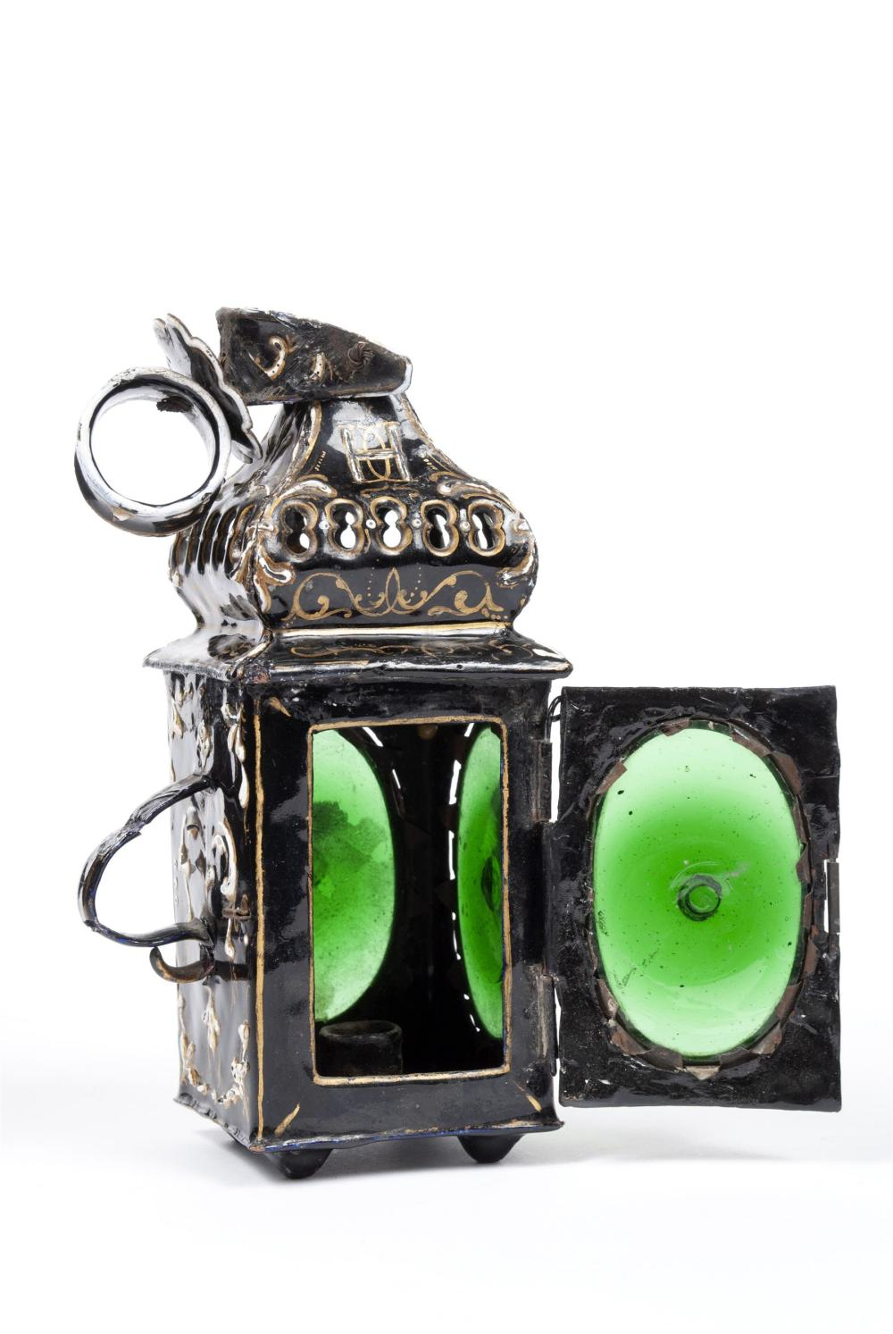 ENAMEL CARRIAGE LANTERN ATTRIBUTED TO THE LAUDIN FAMILY