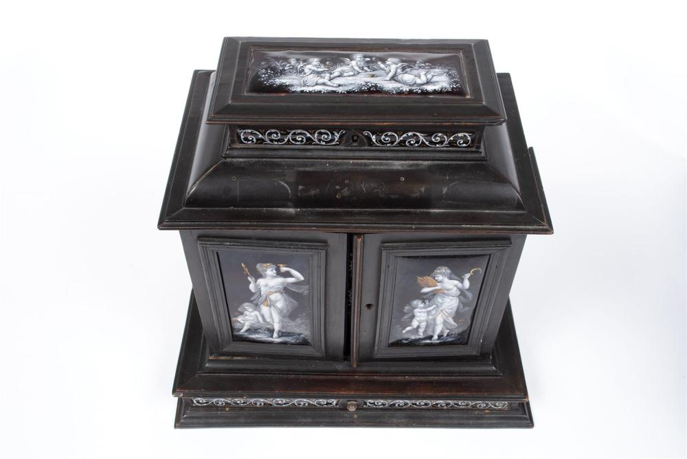 FRENCH ENAMEL TABLETOP JEWELRY CABINET BOX