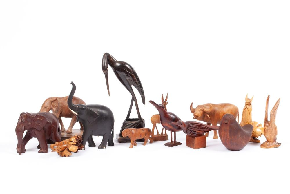 COLLECTION OF WOOD AND HORN CARVED ANIMALS