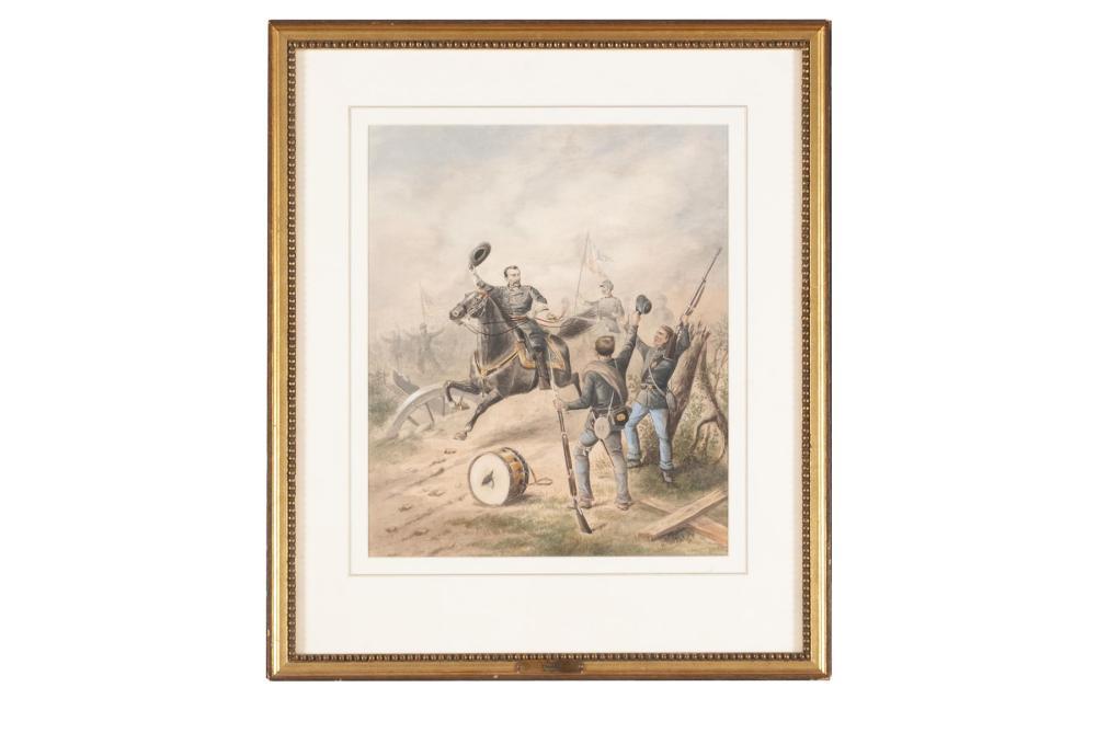 CIVIL WAR BATTLE SCENE SIGNED H. THOLEY (AMERICAN SCHOOL, LATE 19TH CENTURY)