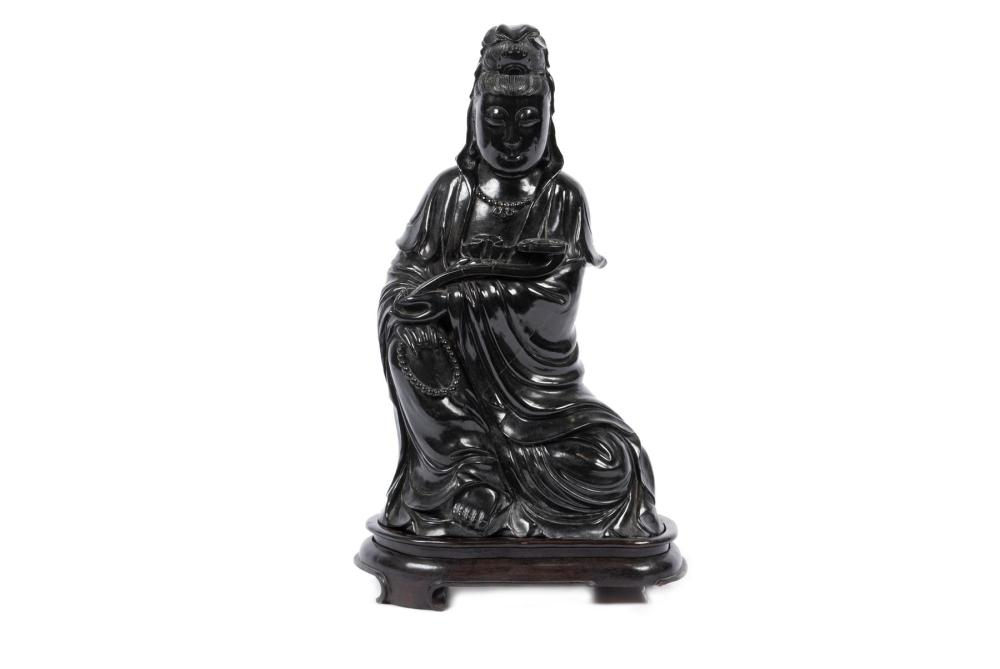 CHINESE BLACK JADE CARVING OF GUANYIN