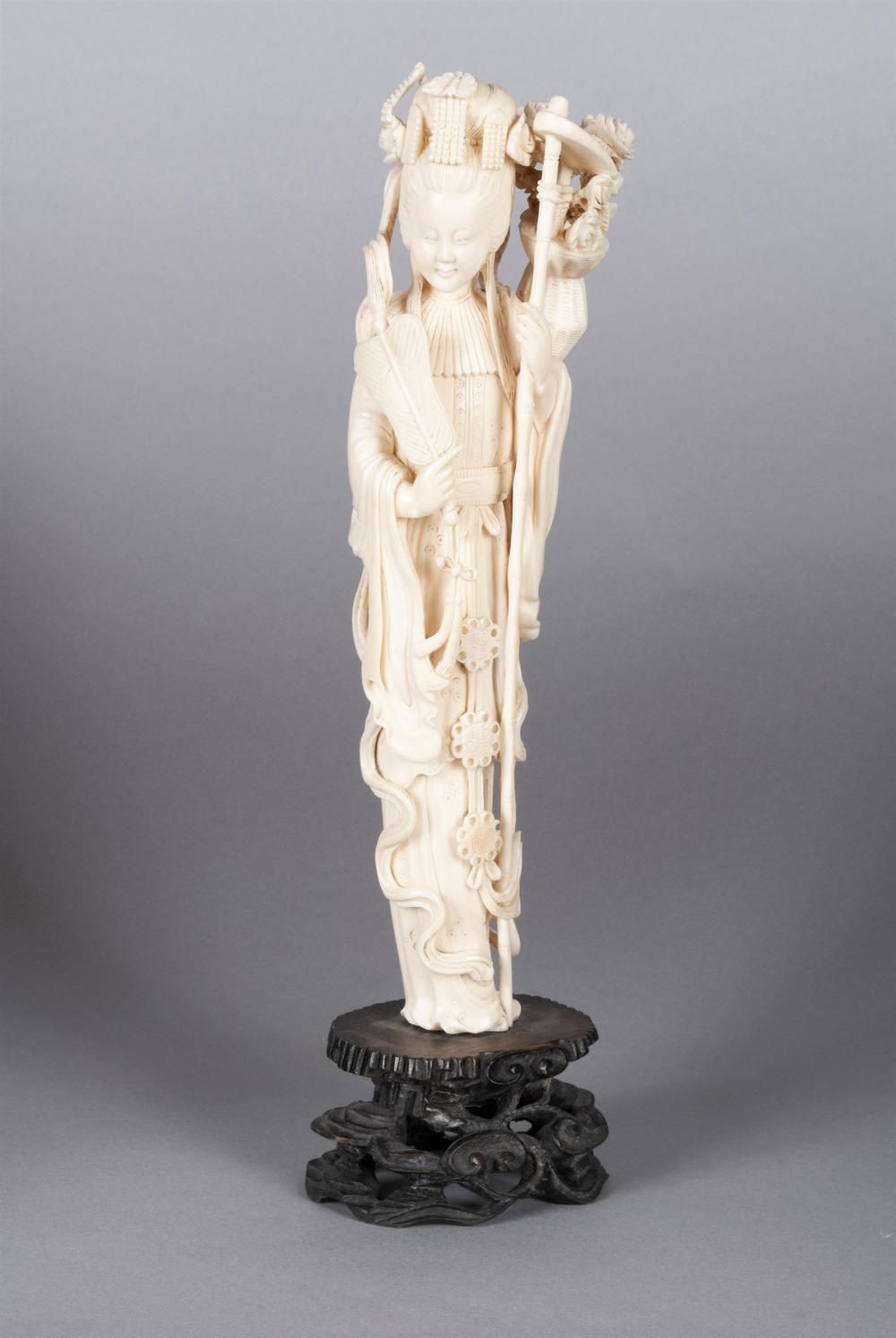 CARVED IVORY GUANYIN FIGURE