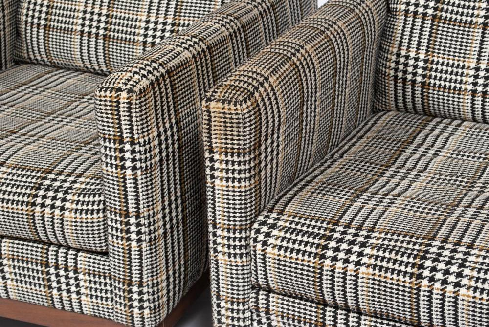 PAIR OF MILO BAUGHMAN BLACK HOUNDSTOOTH CLUB CHAIRS