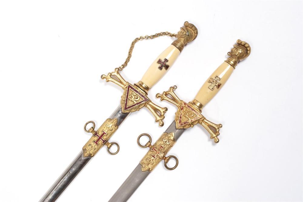 PAIRING OF 32ND DEGREE MASONIC SWORDS & SHEATHS