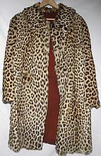 Vtg Leopard Fur Coat w/ Hat