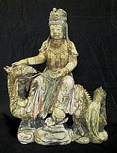 Chinese Seated Guanyin on Dragon