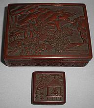 2pcs Cinabar Chinese Boxes