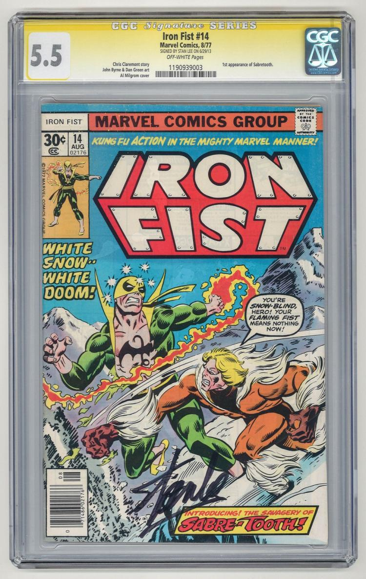 SIGNED CGC 5.5 Iron Fist #14 1977