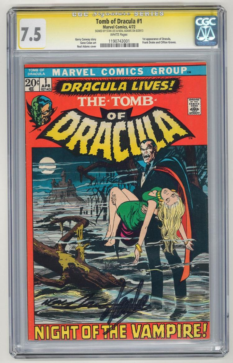 SIGNED CGC 7.5 Tomb of Dracula #1 1972