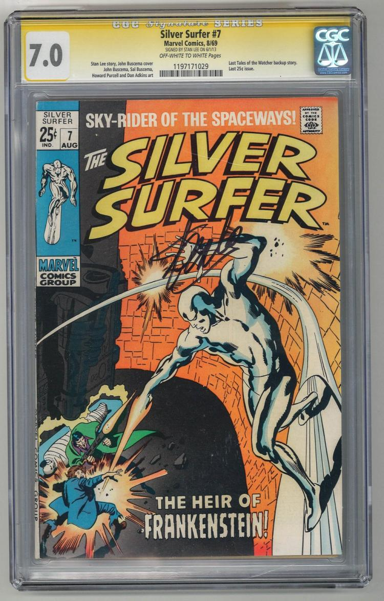 SIGNED CGC 7.0 Silver Surfer #7 1969