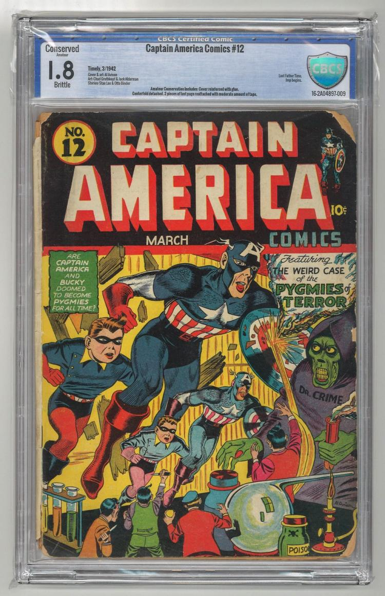 CBCS 1.8 Captain America Comics #12 1942