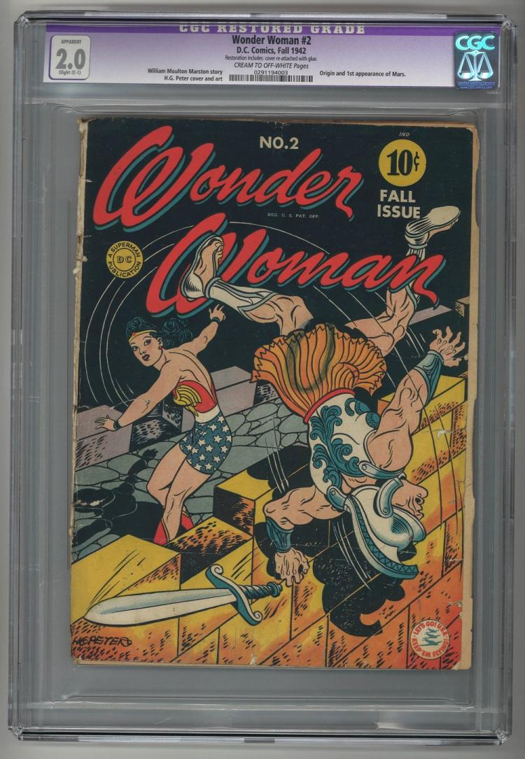 CGC 2.0 Restored Wonder Woman #2 1942