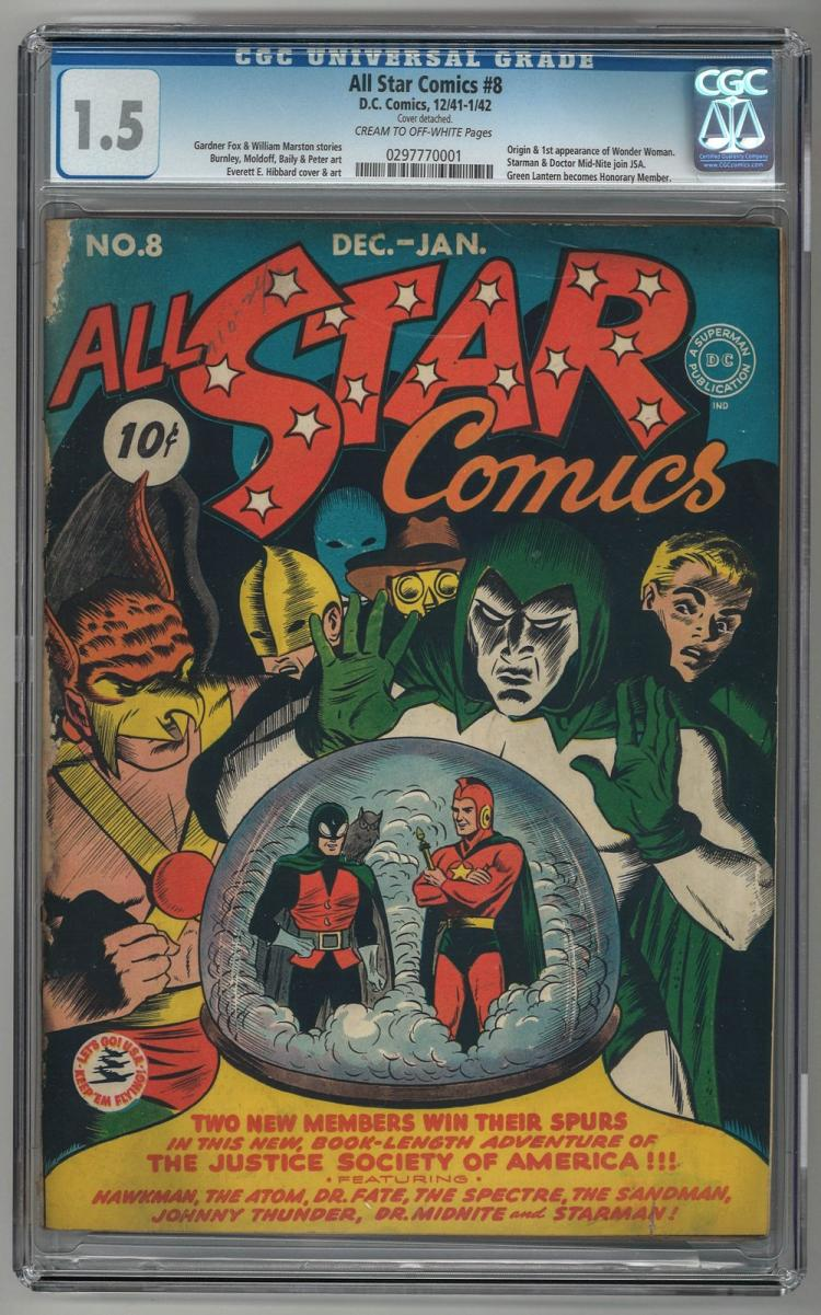 CGC 1.5 All Star Comics #8 1941-1942