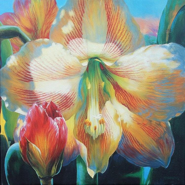 Property of a gentleman - Elizabeth Horning (modern, American) - AMARYLLIS - oil on canvas, 40 by 40ins. (101by 101cms.)