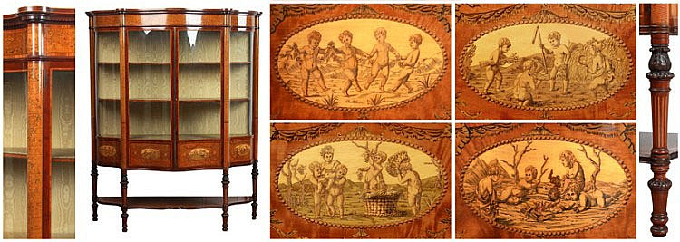 A very fine Edwardian mahogany & marquetry inlaid