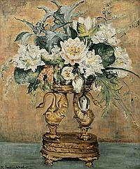 Mollie Forestier-Walker (1912-1990) - STILL LIFE OF FLOWERS IN A CENTREPIECE - oil on canvas