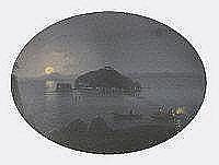 Meuris, 20th century oval gouache, Nisida, moonlit