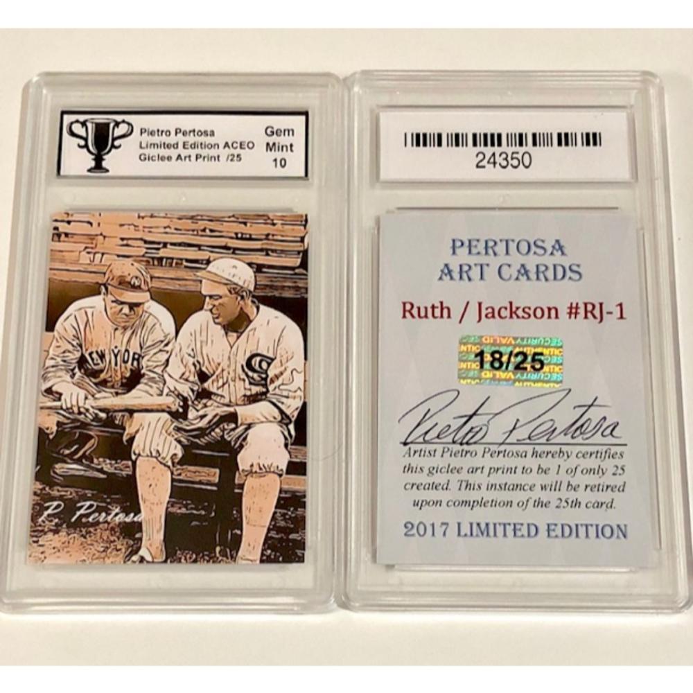 Babe Ruthjoe Jackson Baseball Card Only 25 Produced Sig