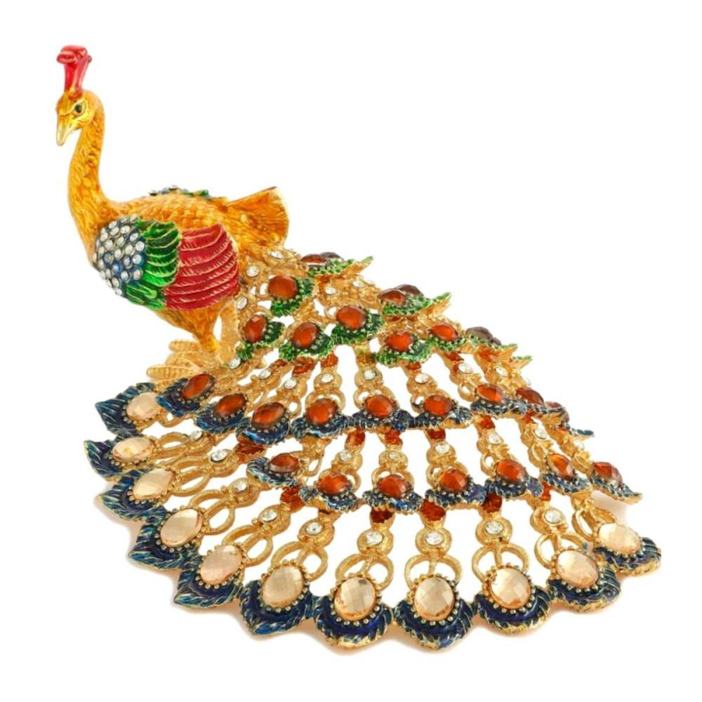 Large FABERGE Jeweled & Enameled Peacock Trinket Box