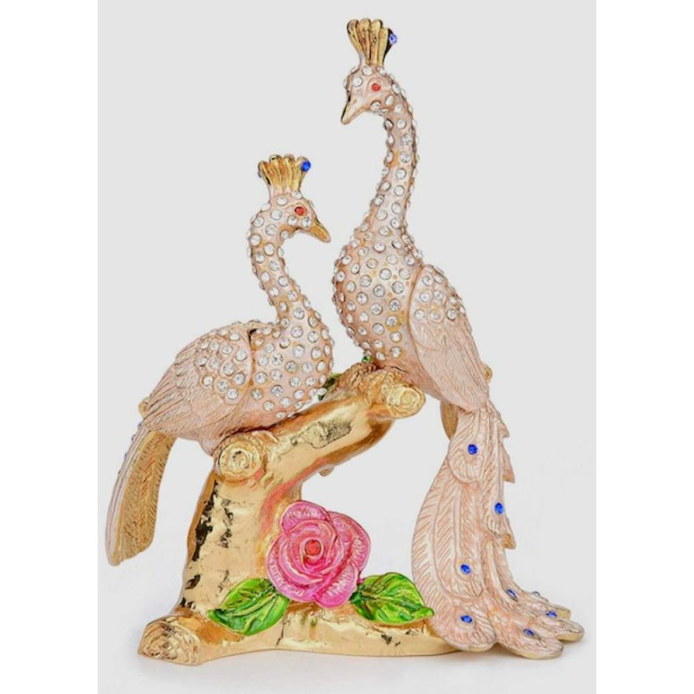 Large FABERGE Jeweled & Enameled Peacocks Trinket Box