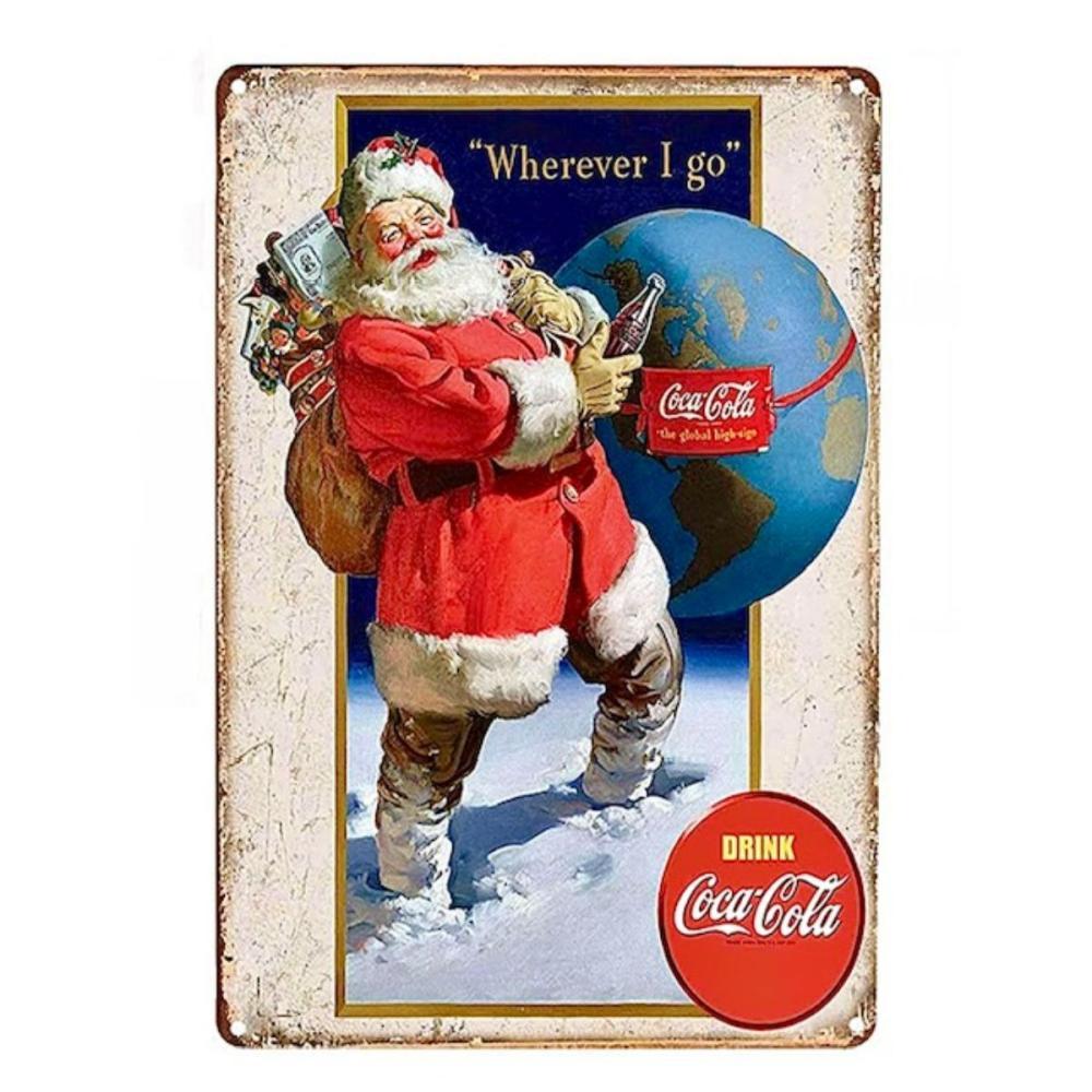 Classic COCA-COLA Santa Claus Metal Advertising Sign