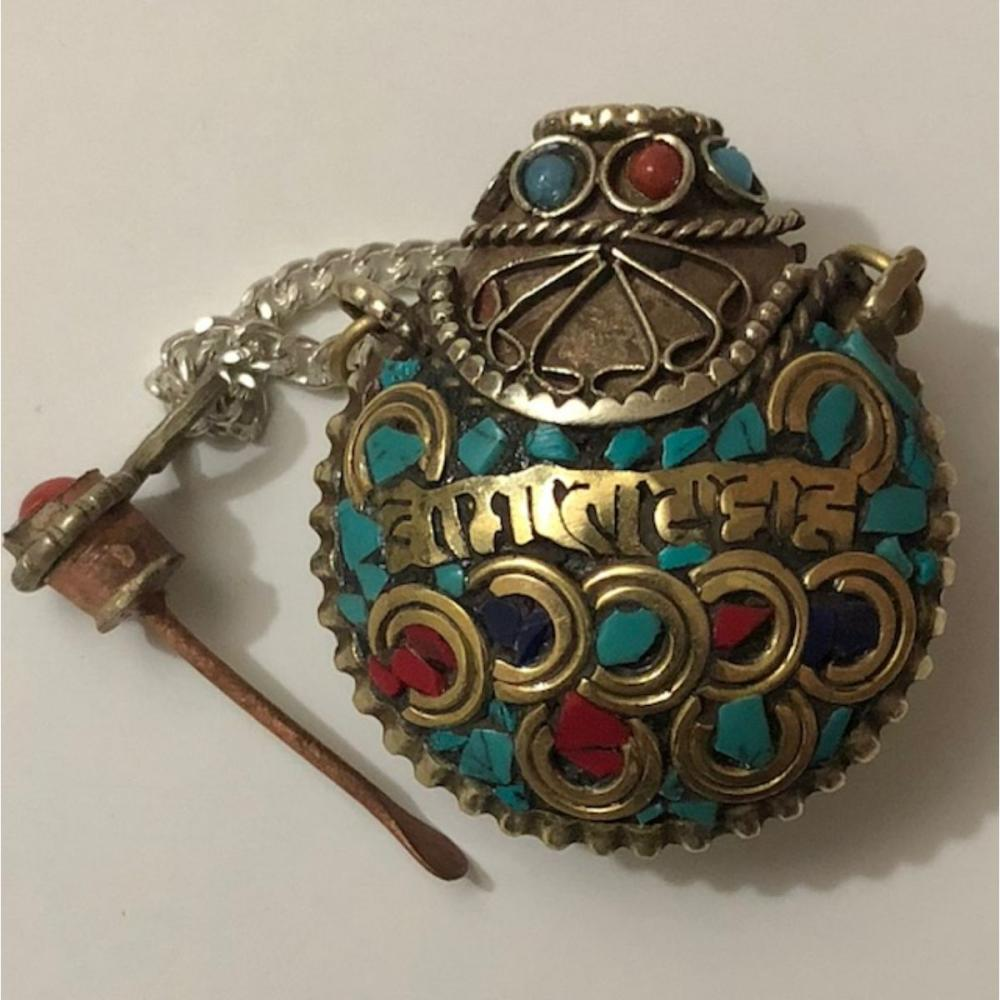 Old Turquoise & Coral Under Garment Chinese Opium Snuff Bottle