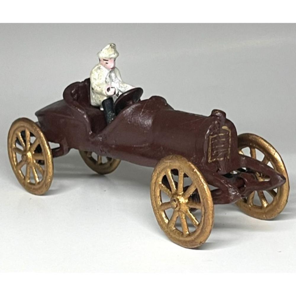 Vintage Cast Iron Arcade Antique Race Car with Driver