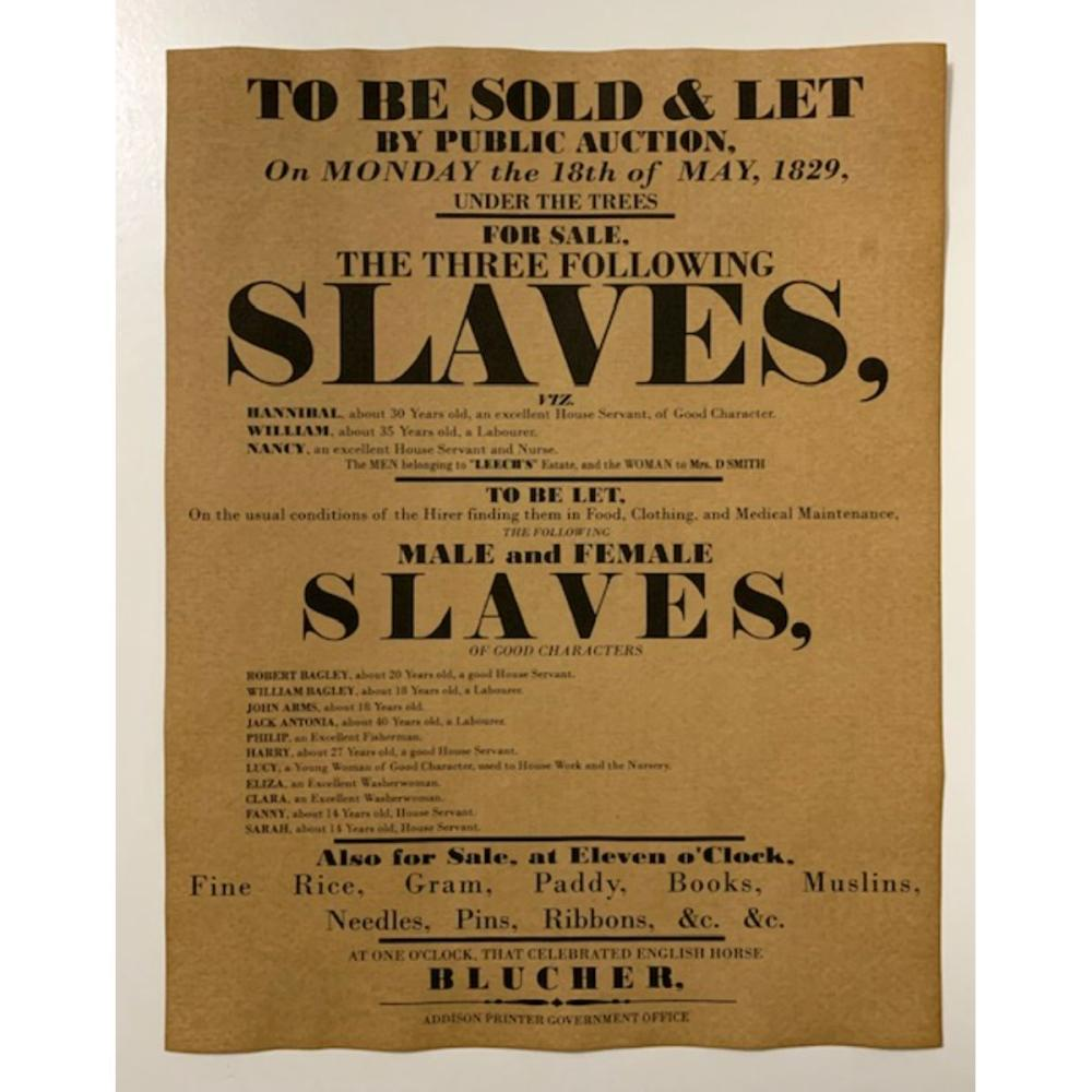 Dated Black Americana Slave Auction Notice Poster