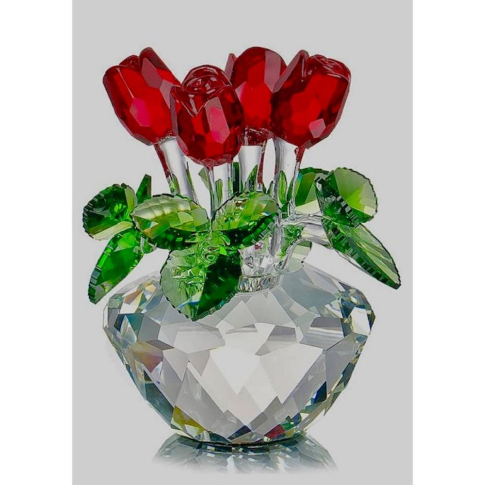 Austrian Iris Crystal Rose Bouquet Swarovski Style
